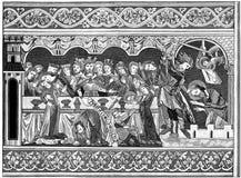 woodblock печати herod пиршества иллюстрация вектора