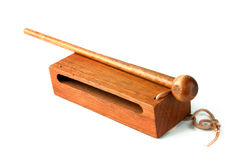 Woodblock with mallet on white. Woodblock with mallet of white ready to cut out royalty free stock photos