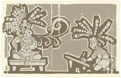 Woodblock Mayan King A Royalty Free Stock Images