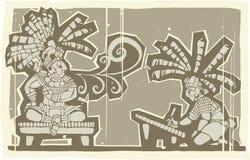 Woodblock Mayan King A Royalty Free Stock Images