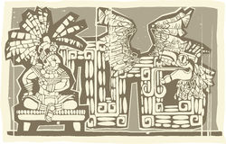 Woodblock Mayan King B Stock Photo