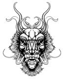 Woodblock style dragon head royalty free illustration