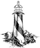 Woodblock style lighthouse Stock Photo