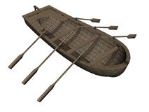 Woodboat - 3D render Stock Photos