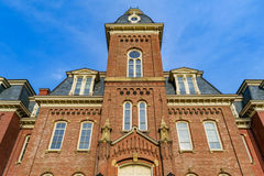 Woodburn Hall at West Virginia University. The iconic Woodburn Hall on the campus of West Virginia University, known as WVU, in Morgantown, West Virginia royalty free stock image