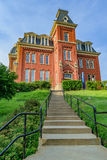 Woodburn Hall at West Virginia University. The iconic Woodburn Hall on the campus of West Virginia University, known as WVU, in Morgantown, West Virginia royalty free stock photo