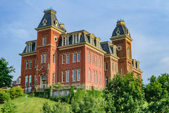 Woodburn Hall at West Virginia University. The iconic Woodburn Hall on the campus of West Virginia University, known as WVU, in Morgantown, West Virginia stock image
