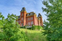 Woodburn Hall at West Virginia University. The iconic Woodburn Hall on the campus of West Virginia University, known as WVU, in Morgantown, West Virginia stock photos