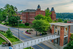 Woodburn Hall at West Virginia University. The iconic Woodburn Hall on the campus of West Virginia University, known as WVU, in Morgantown, West Virginia stock photography