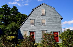 Woodbury, CT: 1750 Glebe-Huis Stock Foto's