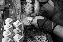 At The Woodcarver`s shop 02 - Krakow 05 2018 stock photography