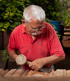 Woodcarver working with mallet and chisel 10 Royalty Free Stock Photo