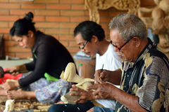 Woodcarvers, Mas, Bali, Indonesia Royalty Free Stock Photography