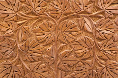 Woodcarving of branches and leaves Royalty Free Stock Photography
