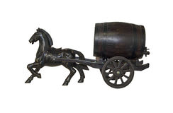 Woodcarving carriage of wine barrels Royalty Free Stock Image