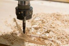 Woodcarving com uma máquina do cnc Fotografia de Stock