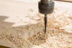 Woodcarving com uma máquina do cnc Fotografia de Stock Royalty Free