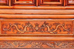 Woodcarving dragon Stock Images