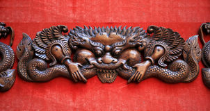 Woodcarving dragon Stock Photo