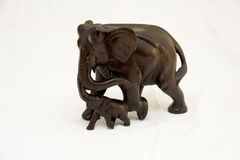 Woodcarving elephants Royalty Free Stock Images