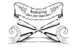 Woodcarving logotype Illustration with a chisel, cutting a wood slice, vintage style logo, black and white isolated engraving.  royalty free illustration