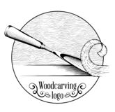 Woodcarving logotype Illustration with a chisel, cutting a wood slice, vintage style logo, black and white isolated engraving.  vector illustration
