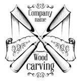 Woodcarving logotype Illustration with a chisel, cutting a wood slice, vintage style logo, black and white isolated engraving.  stock illustration