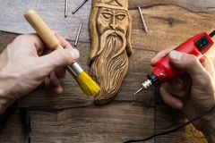 Wood carving tool stock image