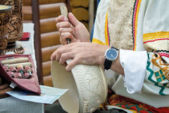 Woodcarving: the revival of crafts. Royalty Free Stock Photo