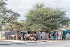 Woodcarving stalls in Okahandja Royalty Free Stock Images