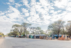 Woodcarving stalls in Okahandja Royalty Free Stock Photography