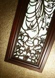 Woodcarvingfenster Stockfoto