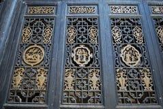 Woodcarvingfenster in China Lizenzfreie Stockbilder