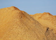 Woodchips Sawdust Pile Blue Sky Stock Photo