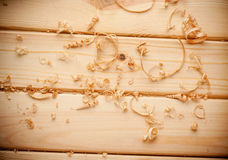 Woodchips shavings on wooden surface close up Royalty Free Stock Image