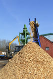 Woodchips strewed from transporter. Wood chips spilling a mound of belt conveyor sawmill Stock Image