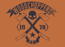 Woodchoppers 1978. Vector illustration ideal for printing on apparel clothes Stock Photo