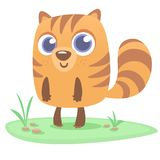 Woodchuck or chipmunk cartoon character. Forest animal vector illustration of chipmunk standing on the grass. Woodchuck or chipmunk cartoon character. Forest Stock Photo