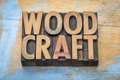 Woodcraft word abstract in wood type Royalty Free Stock Photography