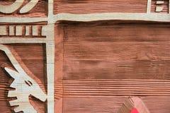 woodcut знака детали Стоковая Фотография RF