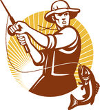 woodcut мухы рыболовства рыболова ретро Стоковые Фотографии RF
