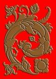 Woodcut. The brown natural motif of woodcut illustration Royalty Free Stock Photo