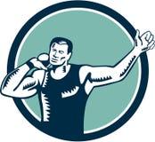 Woodcut спортсмена легкой атлетики толкания ядра Стоковое фото RF