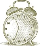 Woodcut Alarm Clock Stock Photography