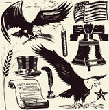 Woodcut Americana. Woodcut style clip art of old time American icons Stock Images