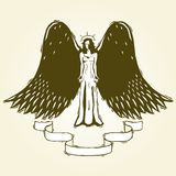 Woodcut angel Stock Images