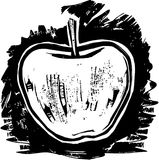 Woodcut Apple Royalty Free Stock Images