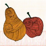 Woodcut apple and pear Royalty Free Stock Image