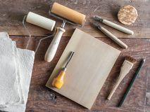 Woodcut Art Tools stock images