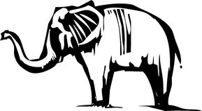 Woodcut Asian Elephant Stock Image